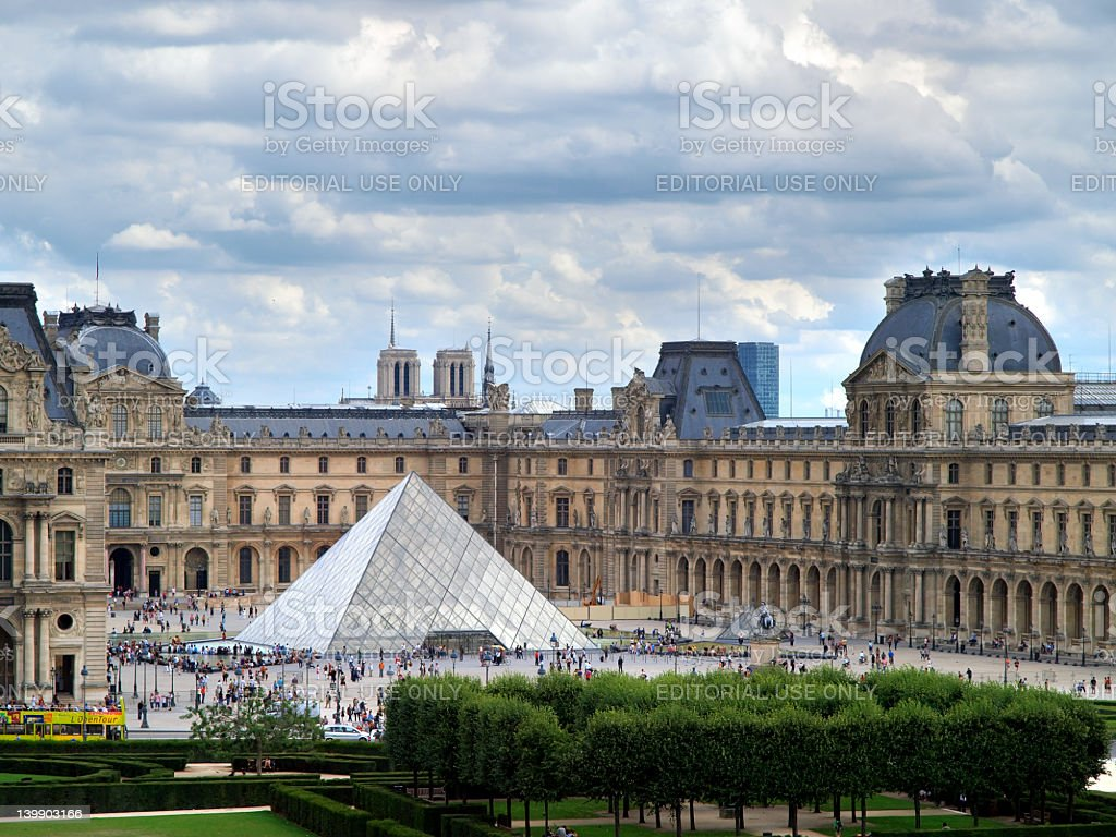 Louvre Museum and Pei's Pyramid. stock photo