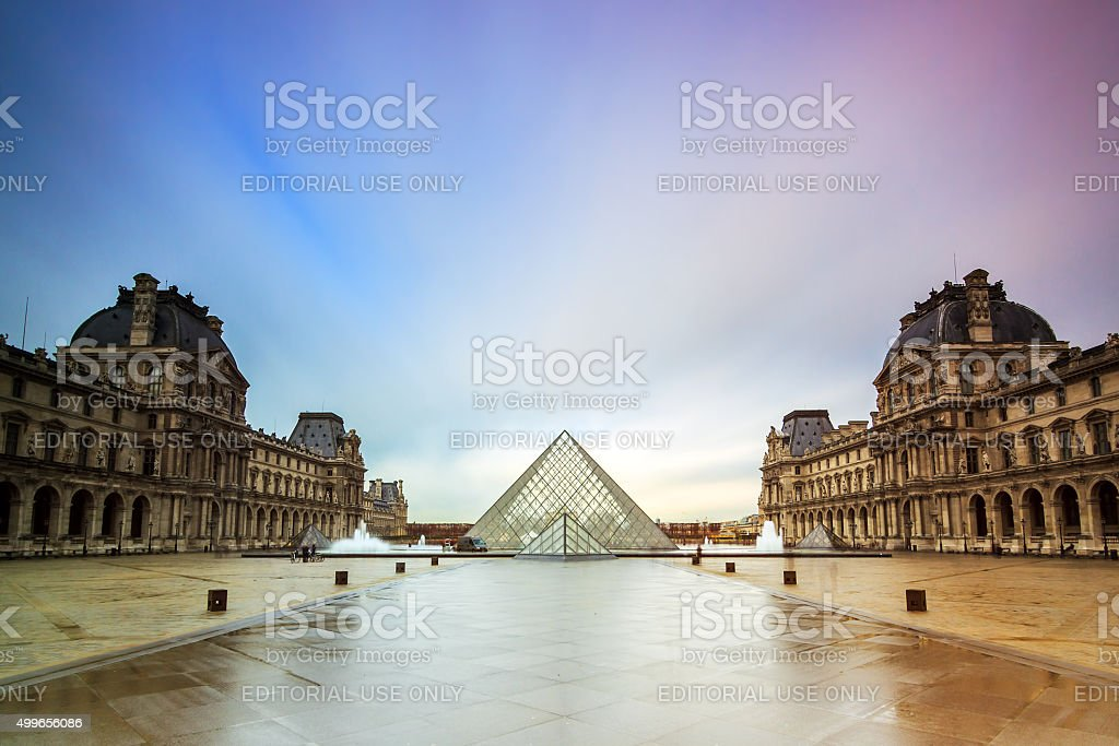 Louvre tranquil stock photo