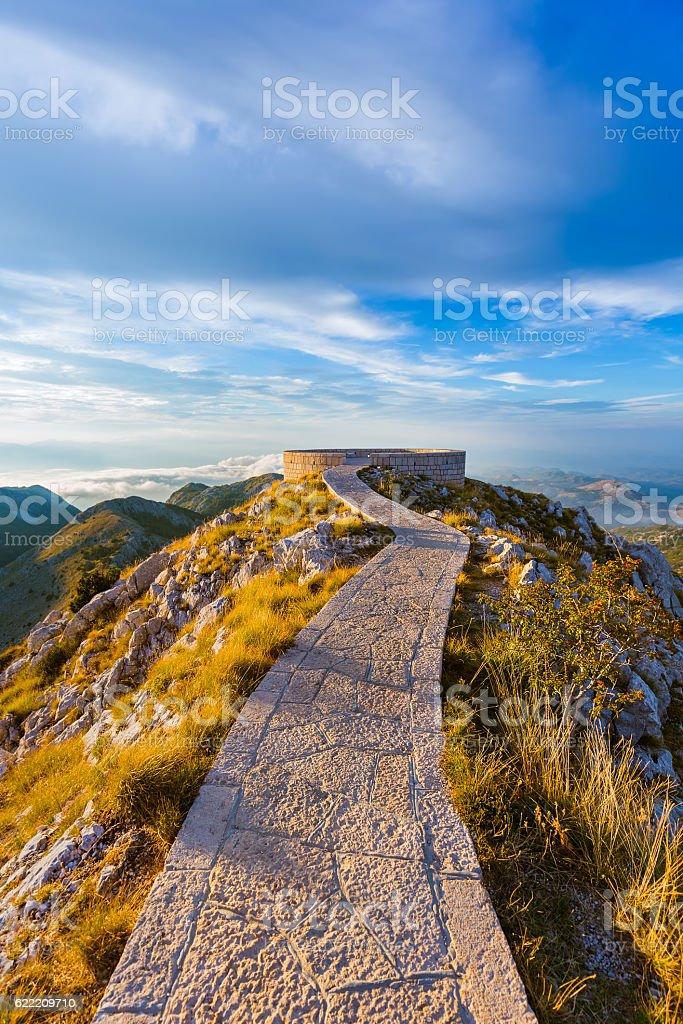 Lovcen Mountains National park at sunset - Montenegro stock photo