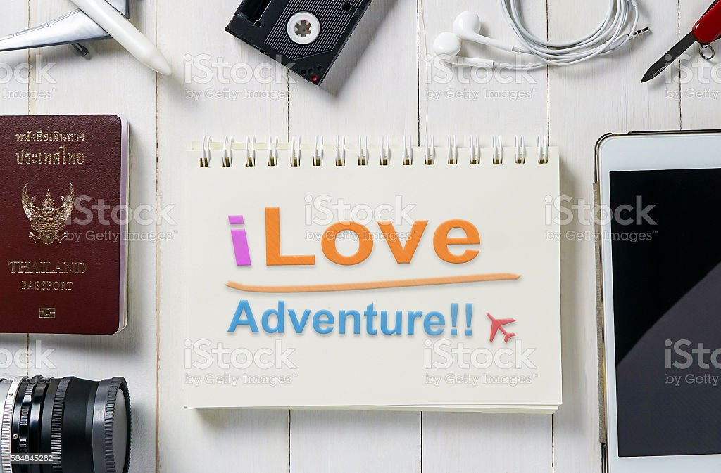 I love adventure colorful writing on a notebook stock photo
