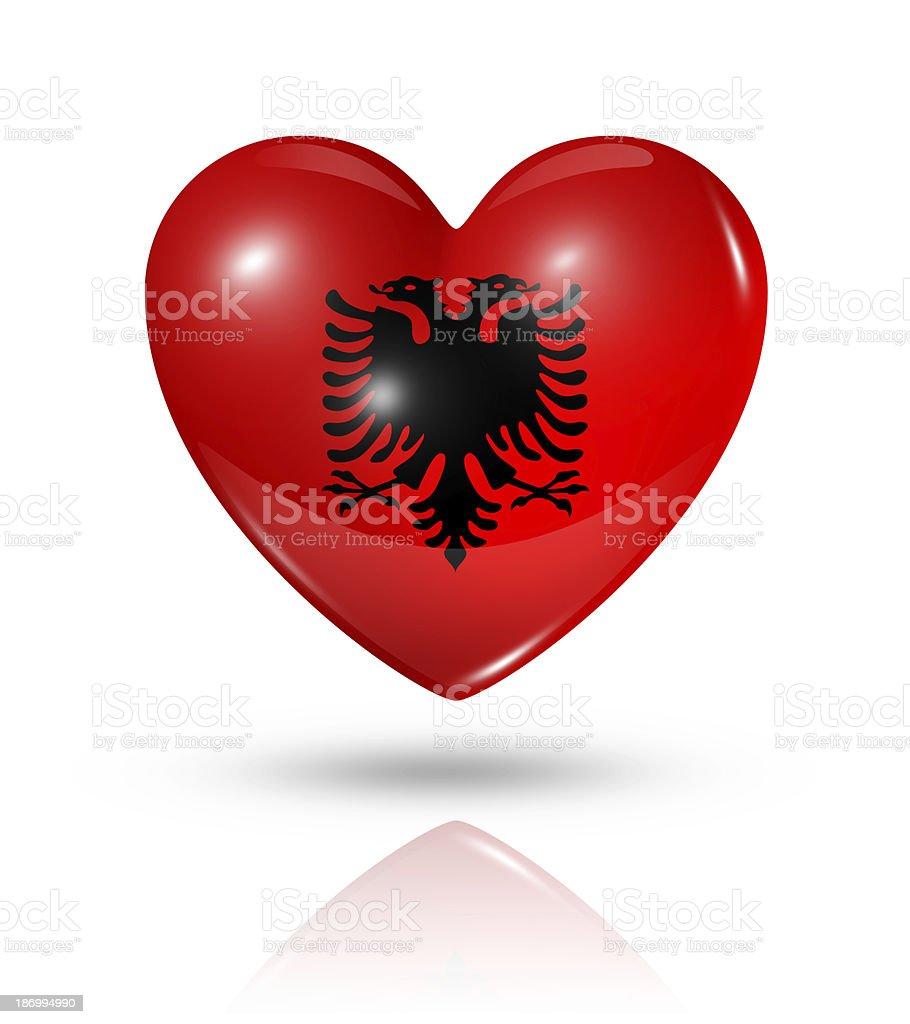Love Albania, heart flag icon stock photo