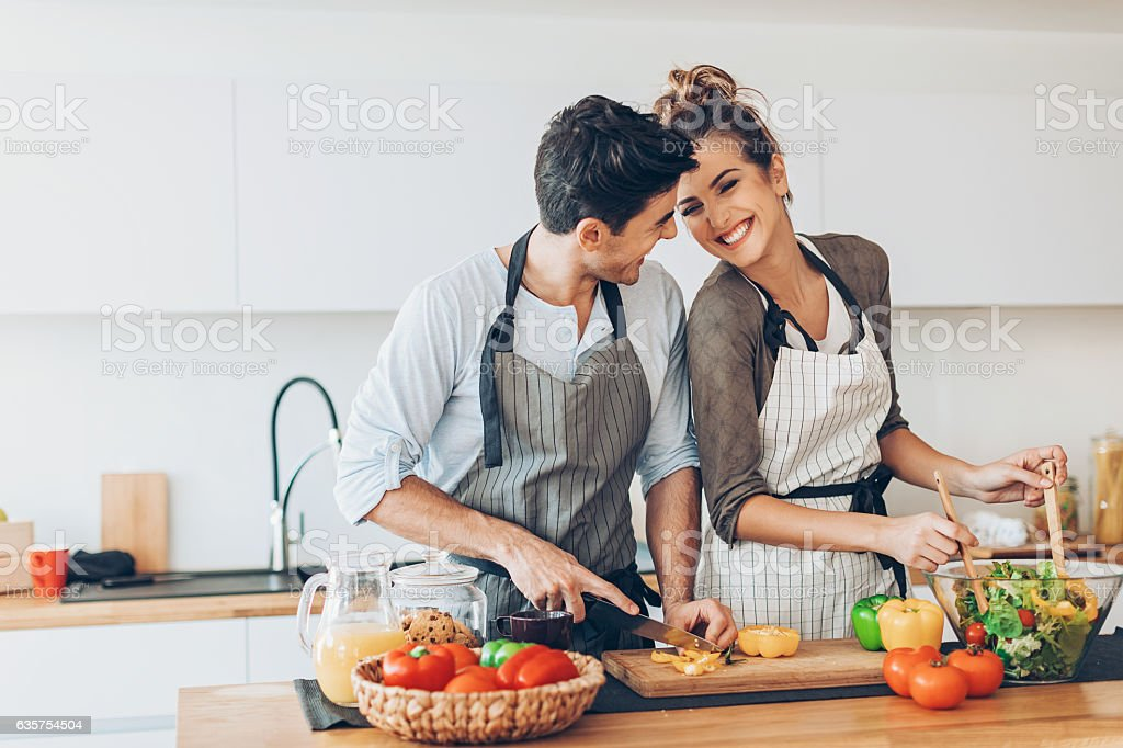 Love and cooking stock photo
