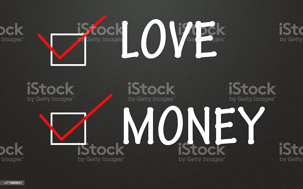 love and money choice stock photo