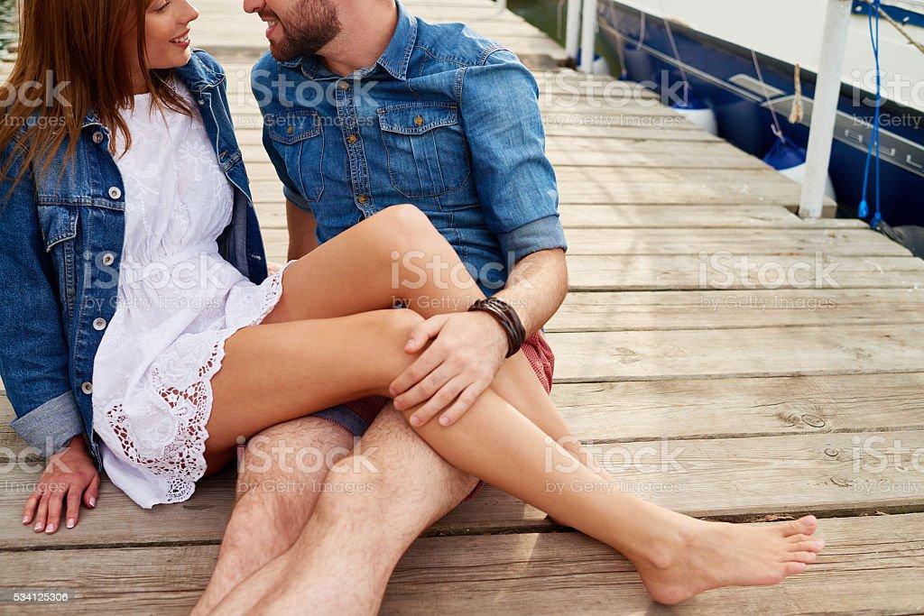 Love and pontoon bridge stock photo