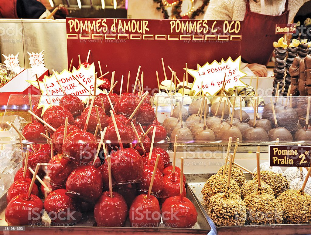 Love apples on French market stall stock photo