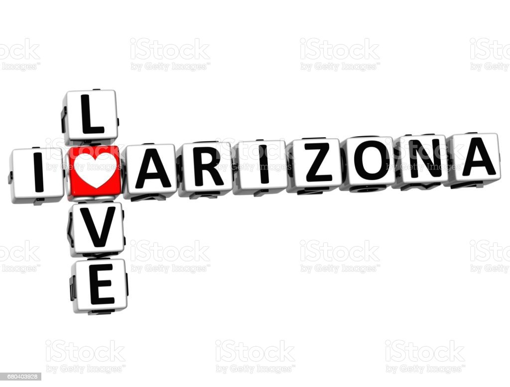 3D I Love Arizona Crossword vector art illustration