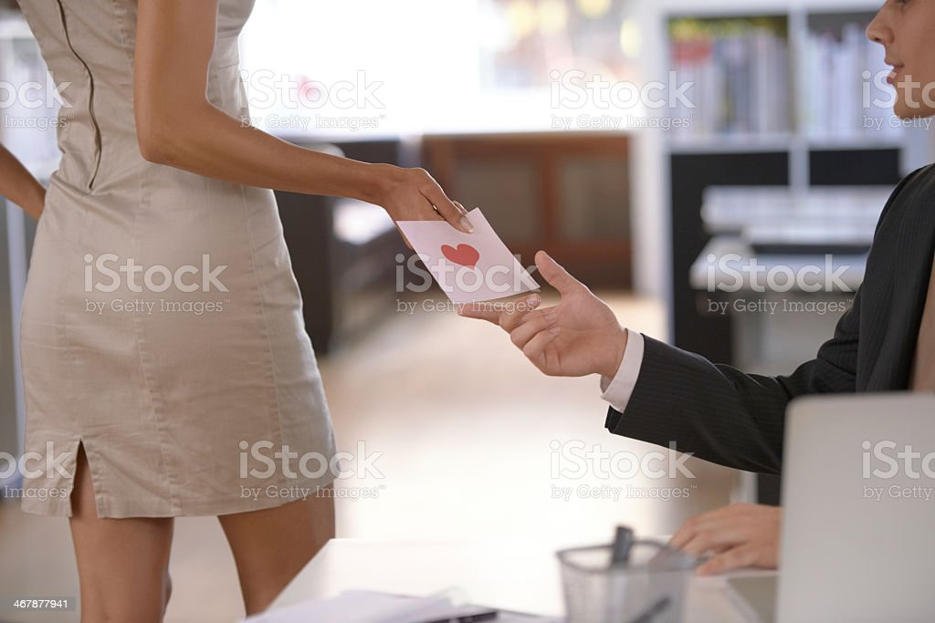 Love at the office stock photo
