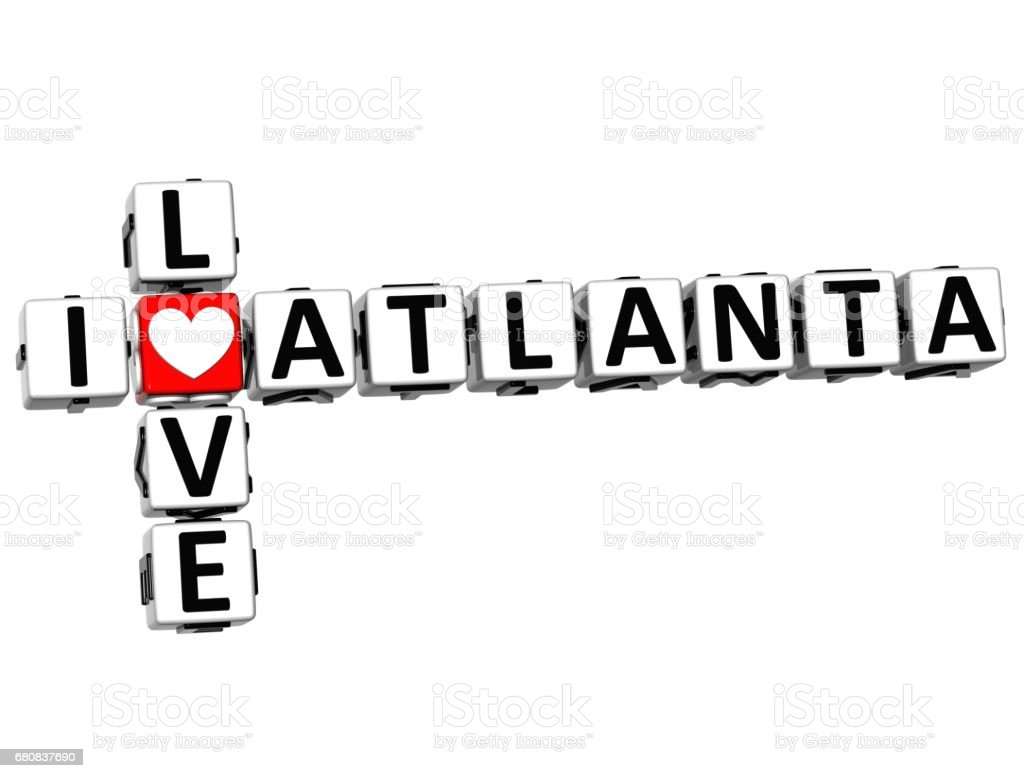 3D I Love Atlanta Crossword vector art illustration
