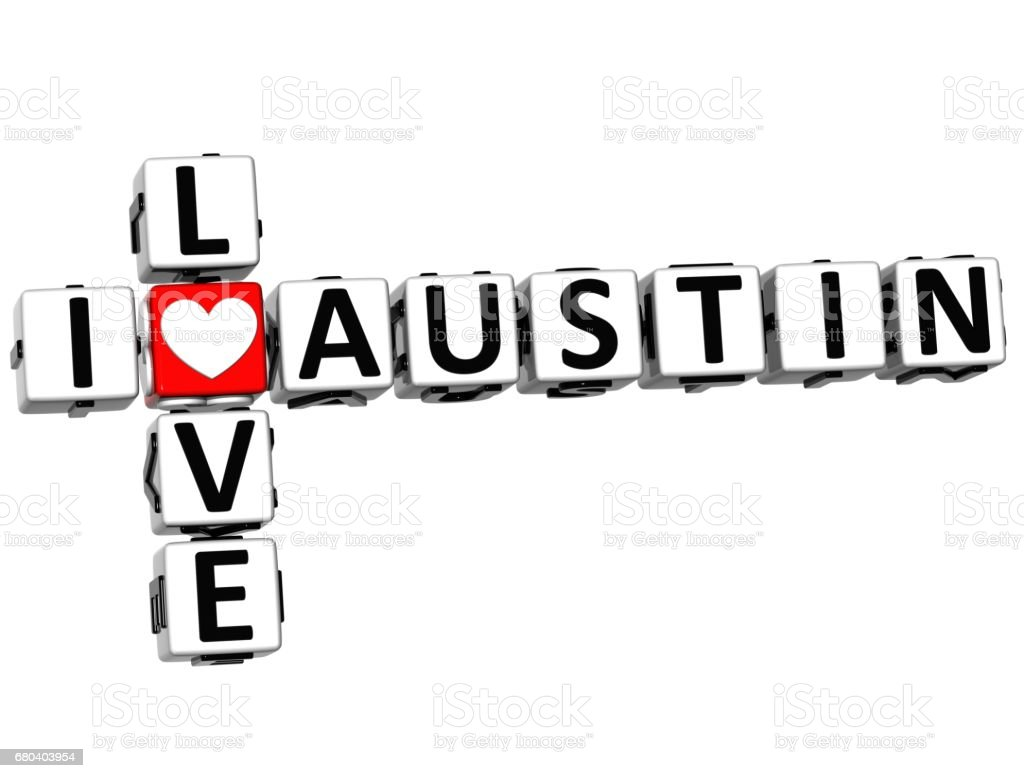 3D I Love Austin Crossword vector art illustration