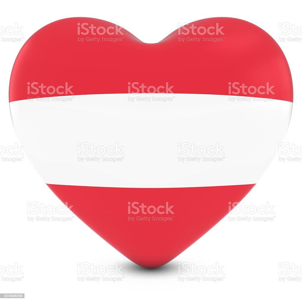 Love Austria Concept Image - Heart textured with Austrian Flag stock photo