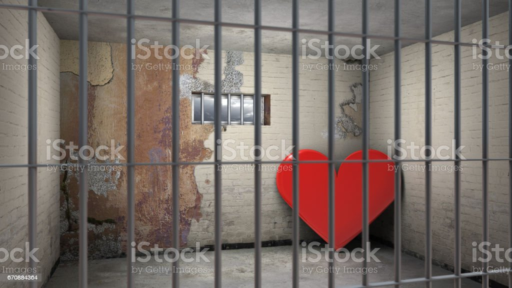 love behind bars stock photo