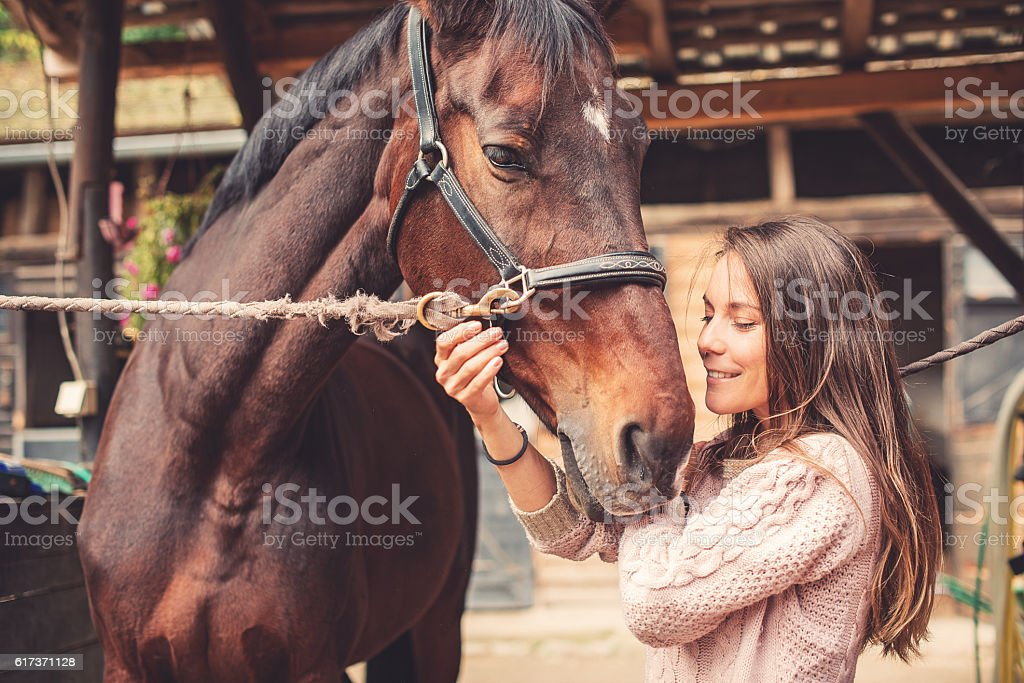 Love between human and animal stock photo