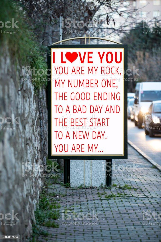 Love billboards stock photo