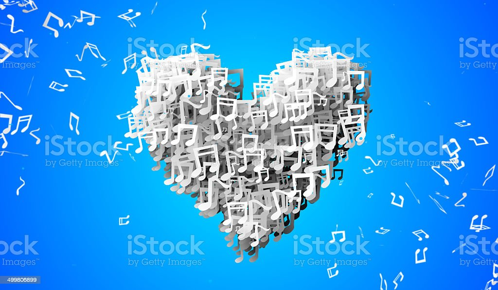 Love Blue Musical Note Particles 3D royalty-free stock photo