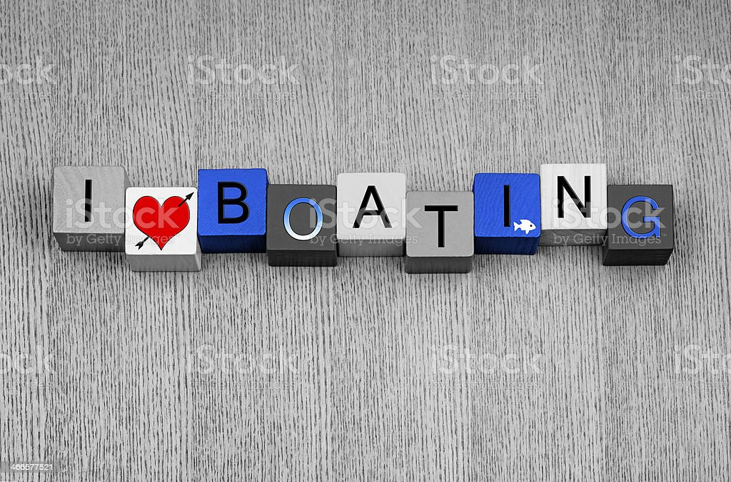 I Love Boating, sign for boats, motorboats, sailing and yachts stock photo