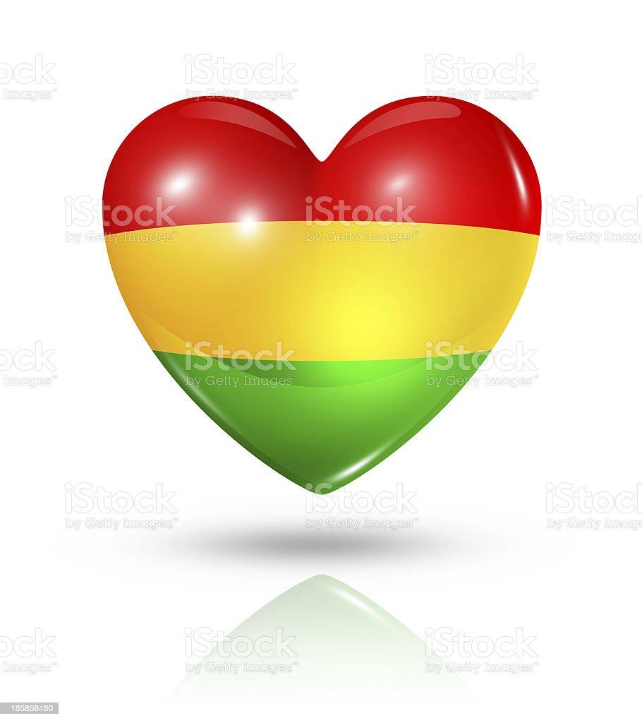 Love Bolivia, heart flag icon stock photo