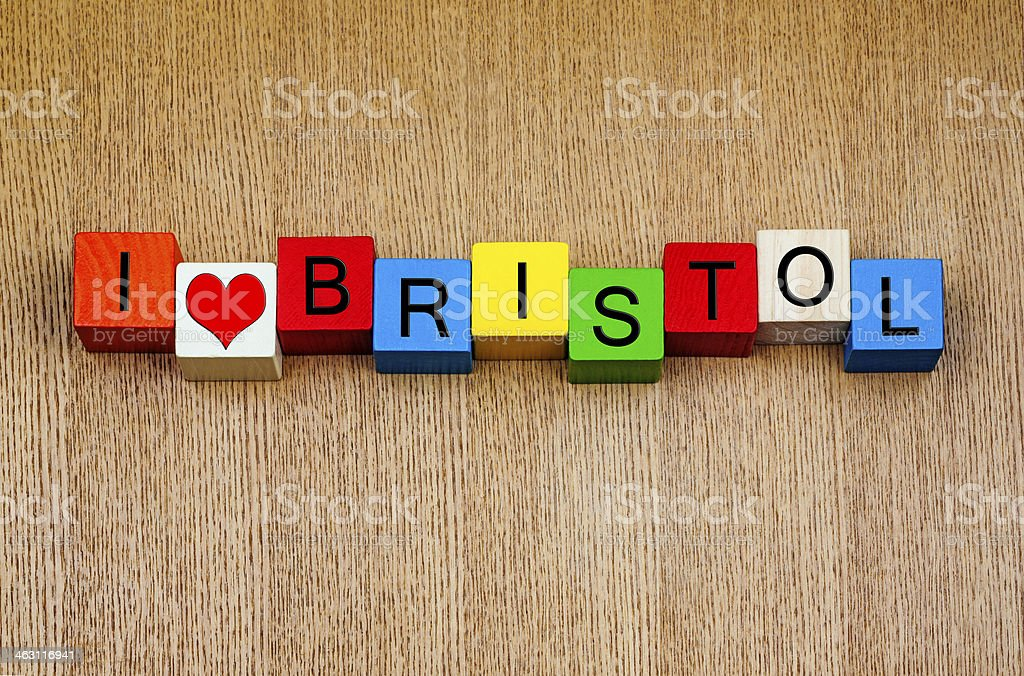 I Love Bristol, England, UK, sign series, English cities stock photo