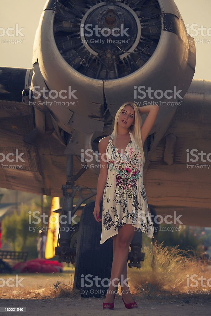 love by a plane stock photo