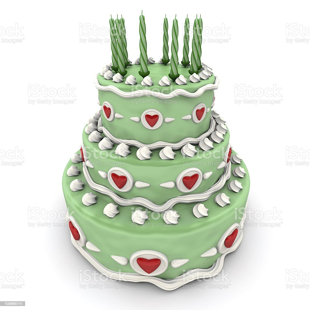 Love cake in green royalty-free stock photo