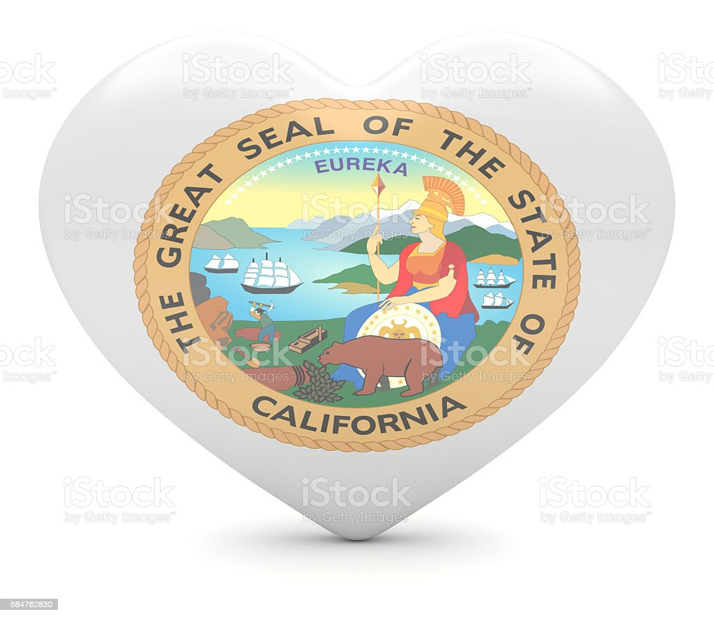 Love California: US State Seal Heart, 3d illustration stock photo