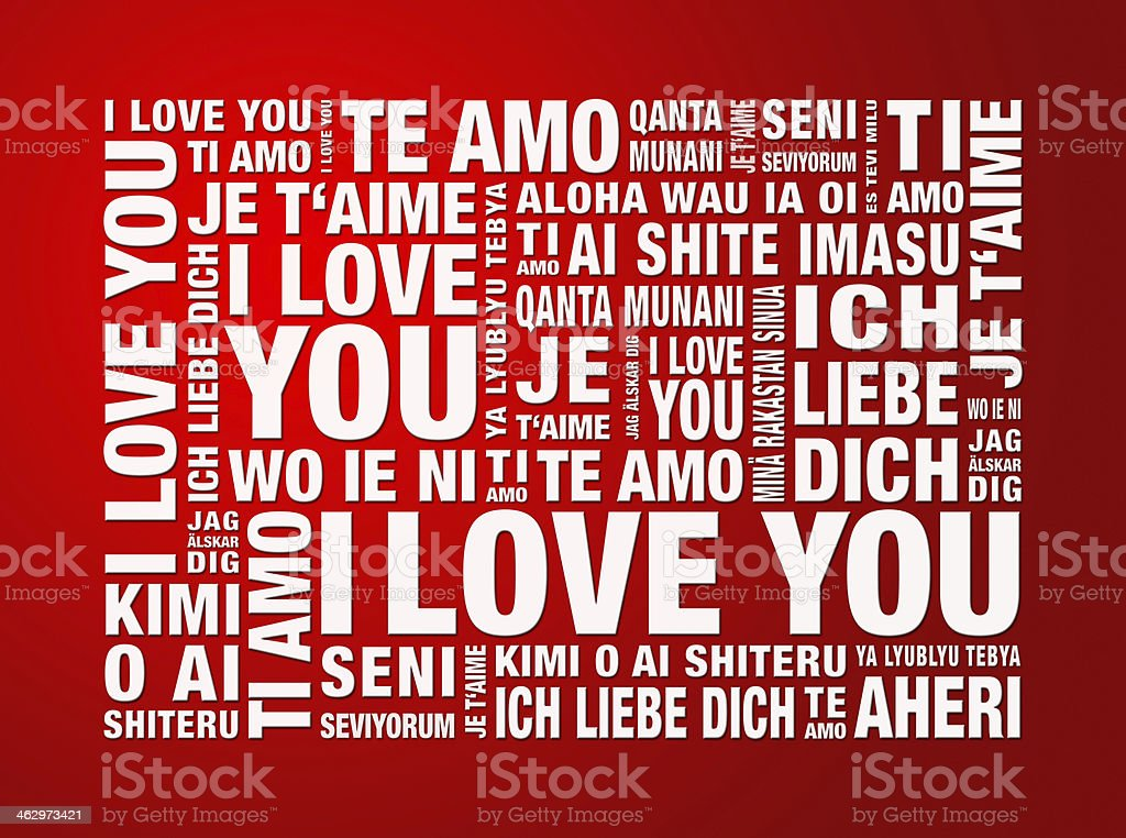 Love card in many languages - valentines day stock photo