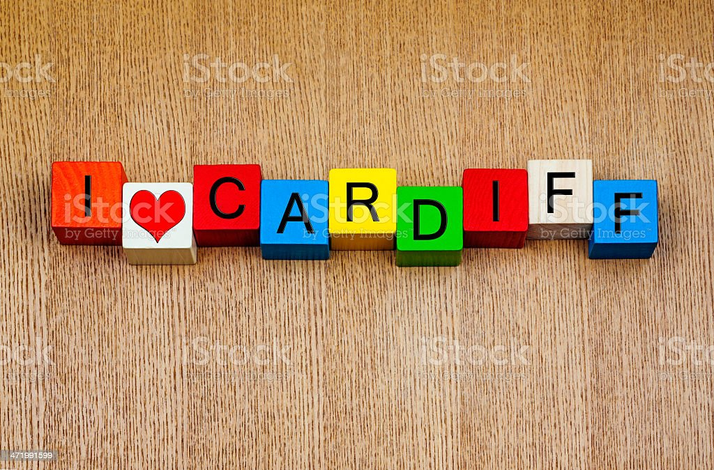 I Love Cardiff, Wales - sign series for city travel stock photo
