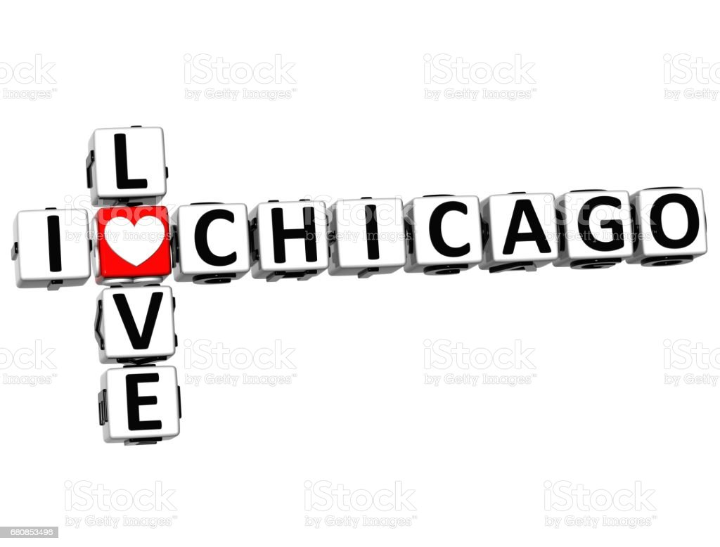 3D I Love Chicago Crossword vector art illustration