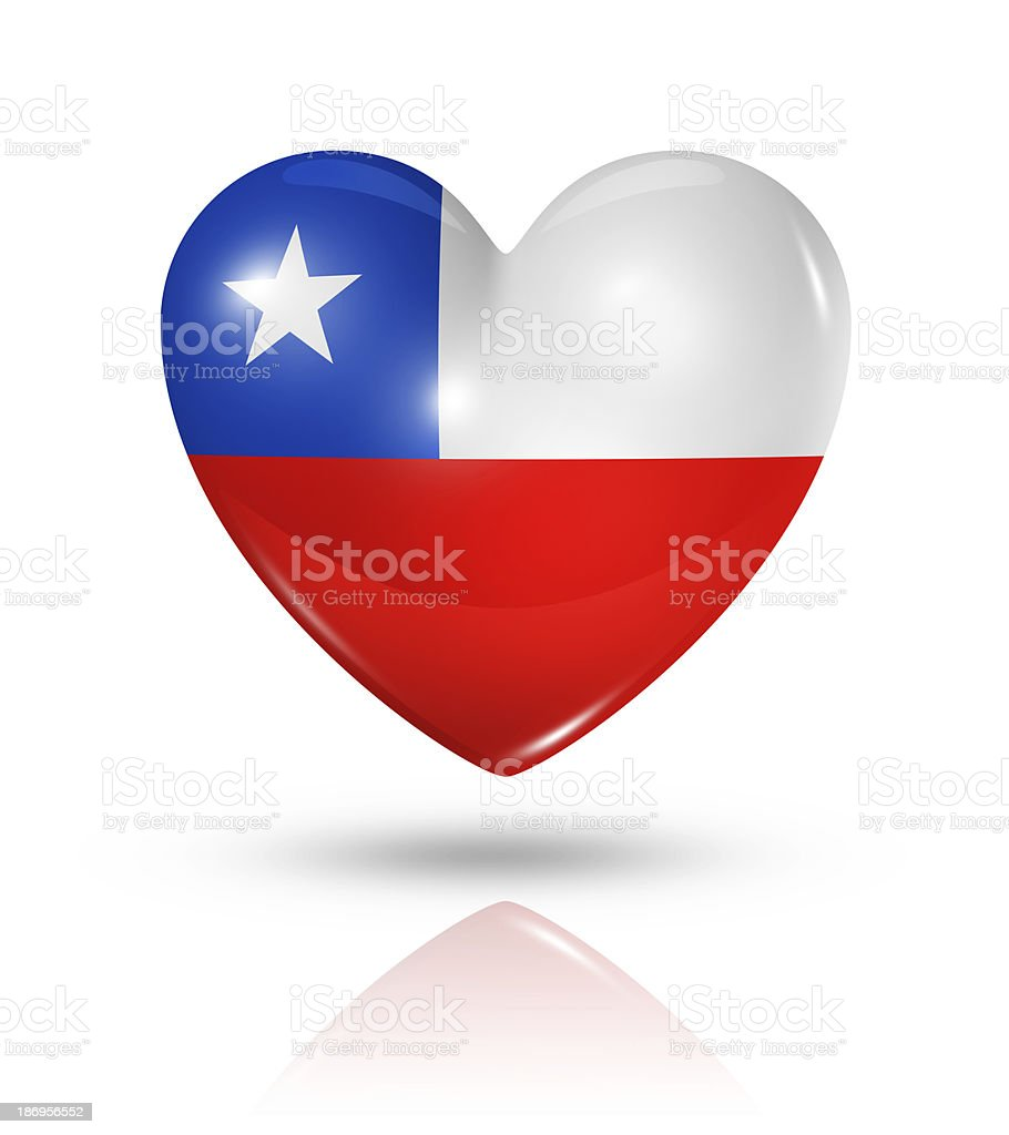 Love Chile, heart flag icon royalty-free stock photo