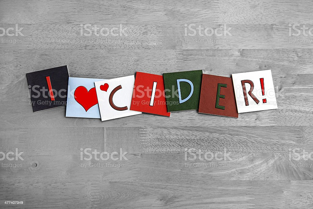 I Love Cider, sign series for alcohol, drinks and food. stock photo