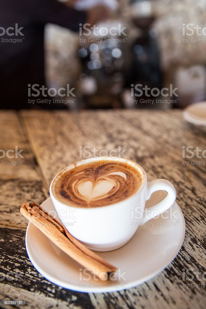 Love coffee froth art stock photo
