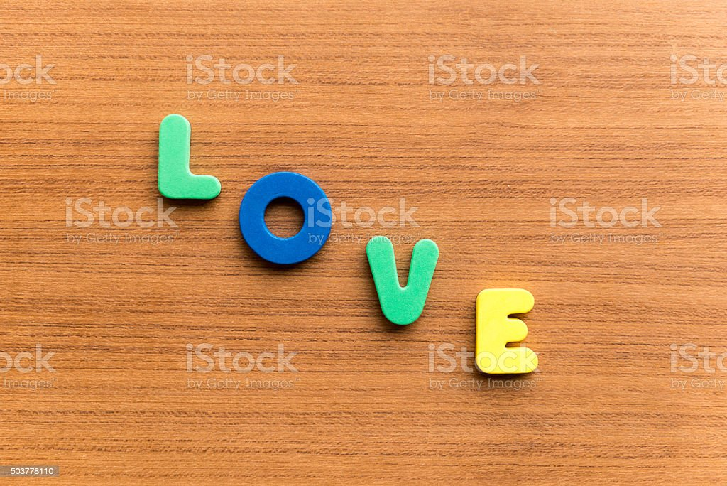 love  colorful word stock photo
