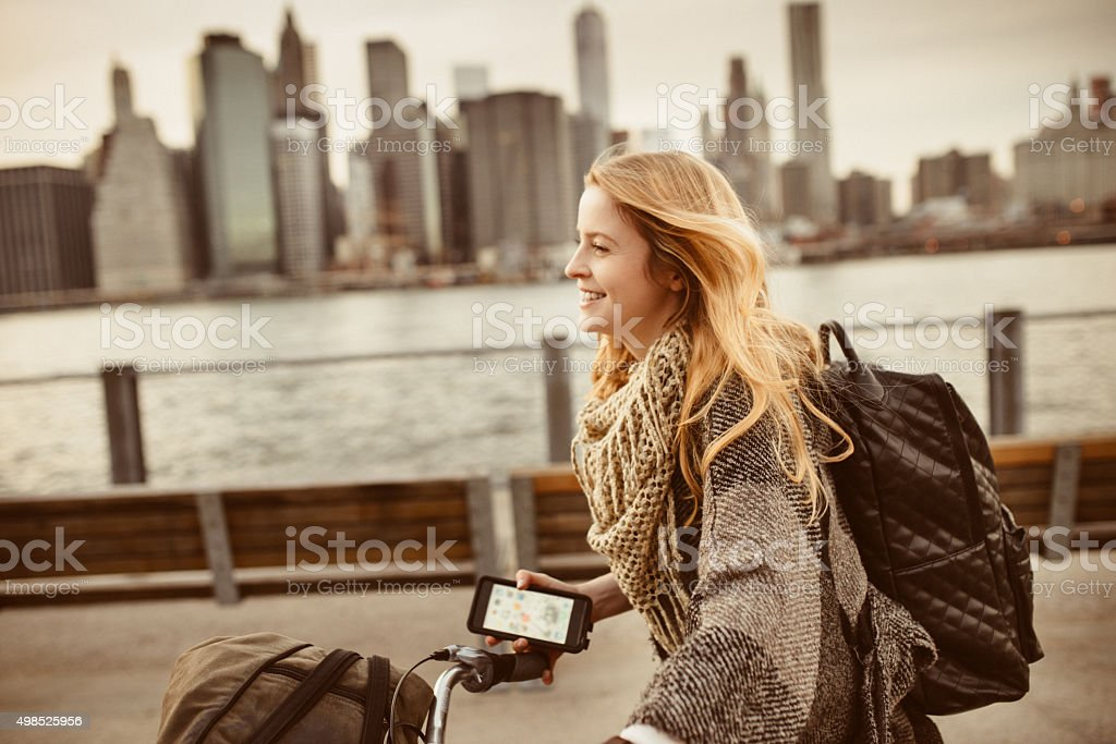 I love commuting on Bicycle in NYC stock photo
