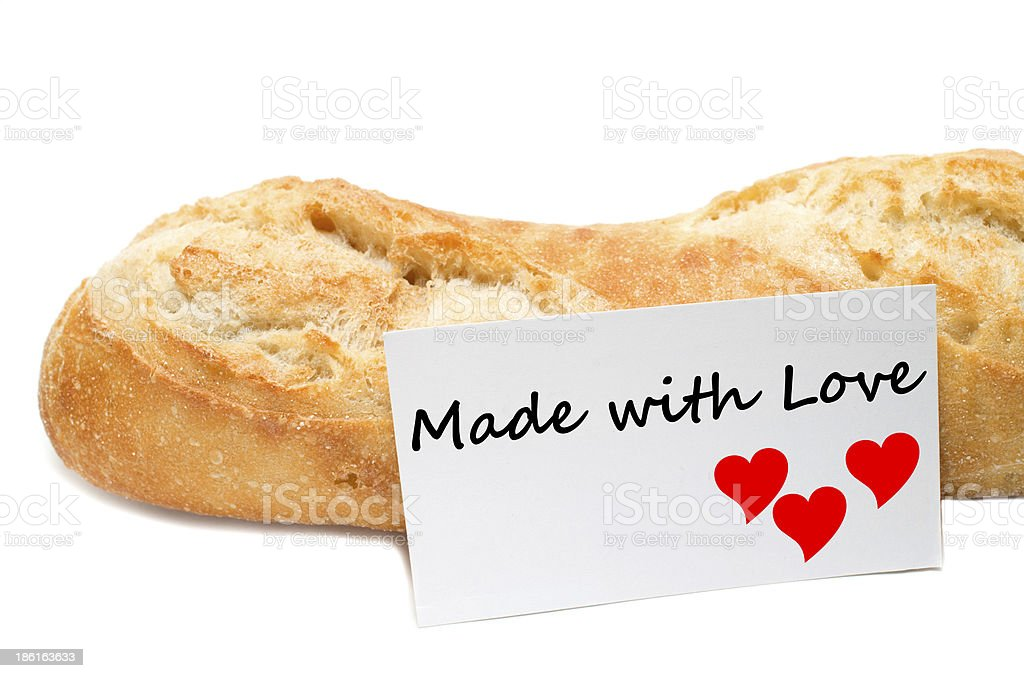 Love concept from a bakery on white background stock photo