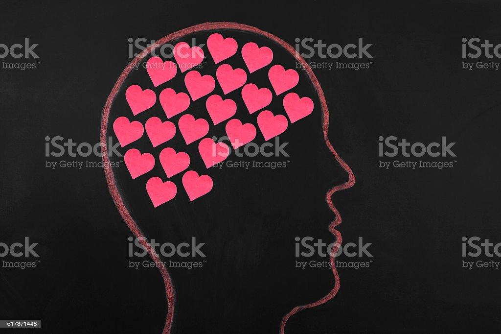 Love concept on blackboard. stock photo