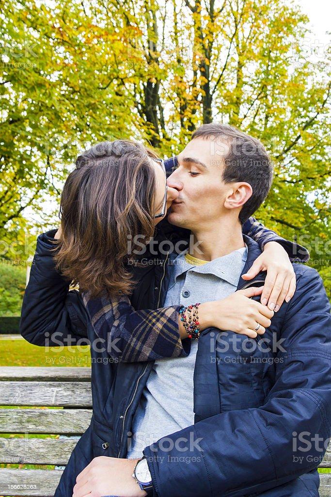 Love couple closeup kissing looking happy royalty-free stock photo