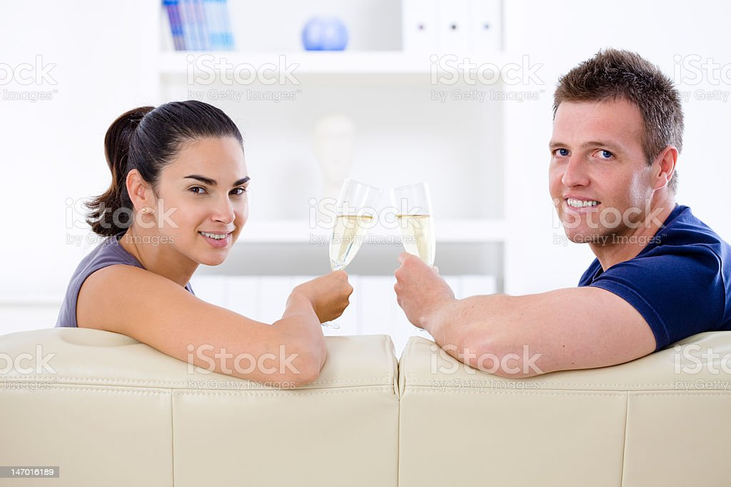 Love couple - drinking champagne royalty-free stock photo