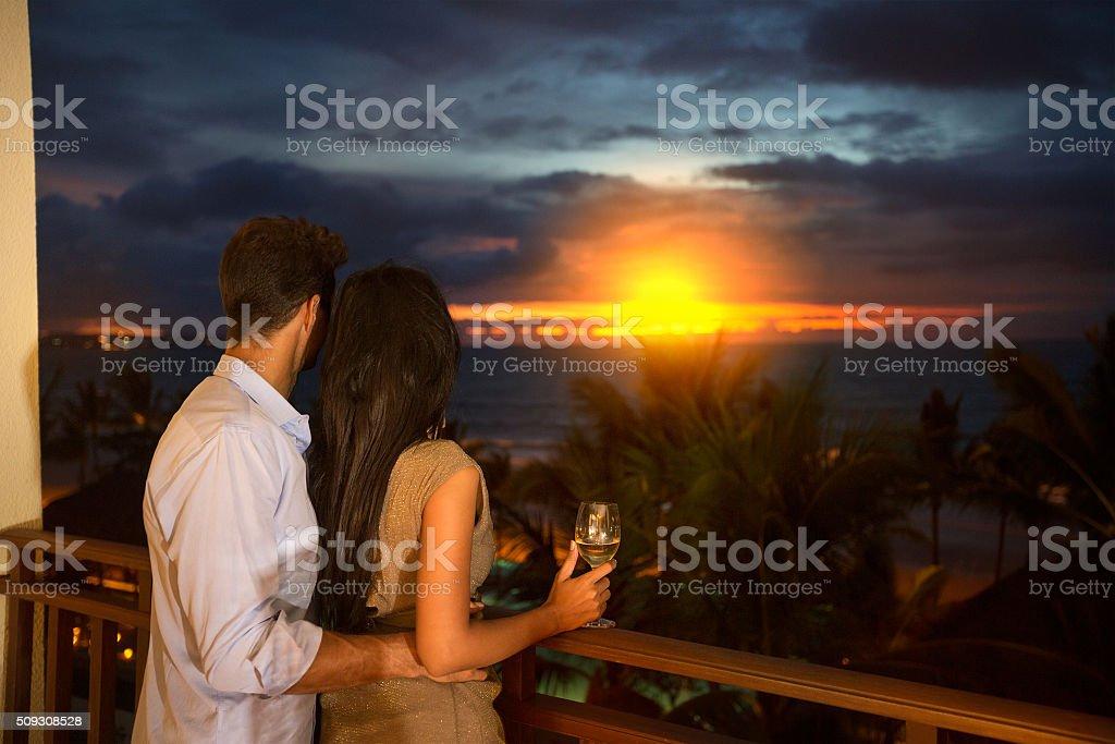 love couple  enjoying in sunset stock photo