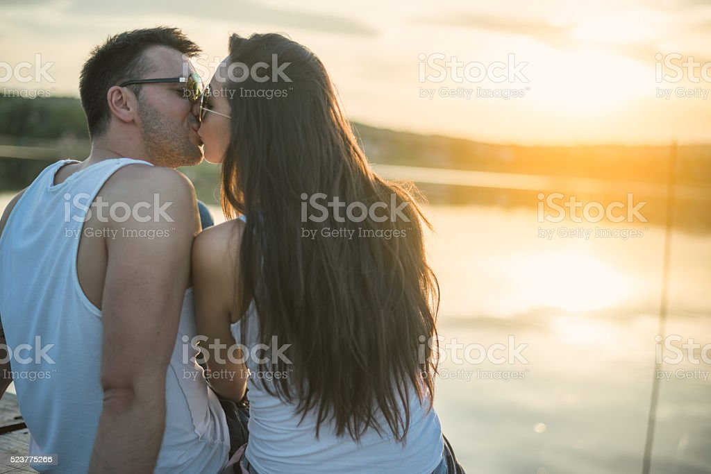 Love couple in nature stock photo