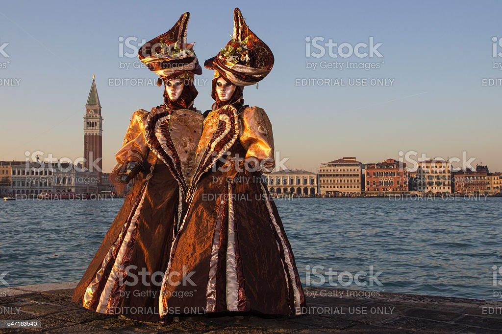 Love - Couple in Venetian Masks - Venice Carniva stock photo