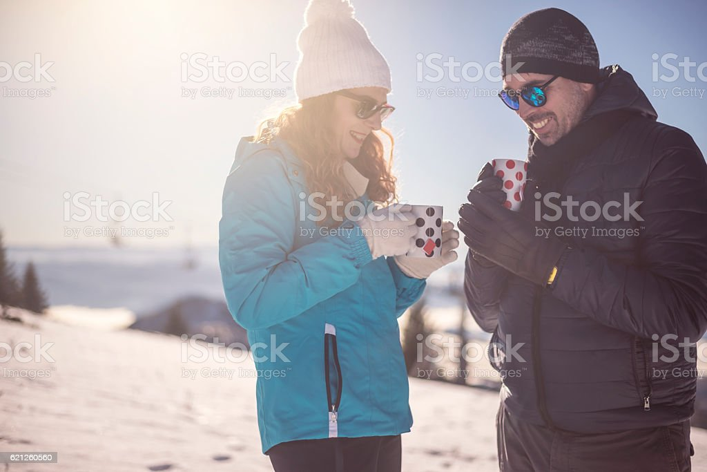 Love couple on winter vocation stock photo