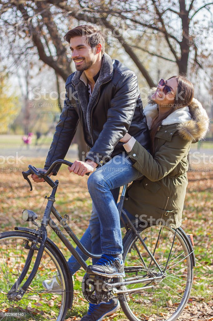 Love couple ride bicycles. stock photo