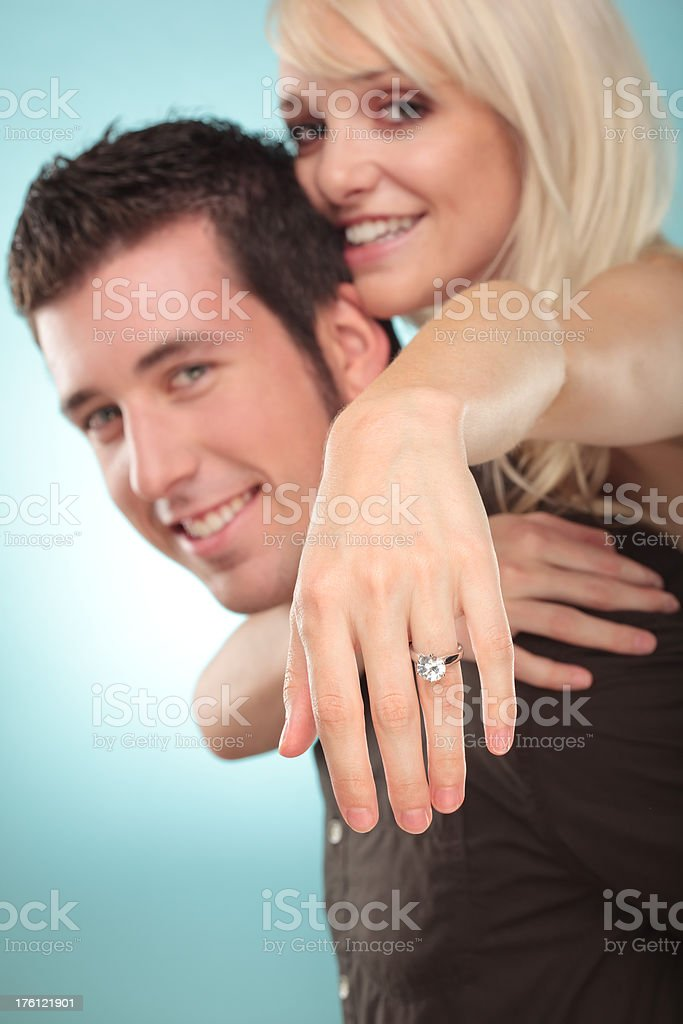 love couple with diamond ring hand royalty-free stock photo