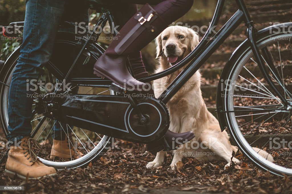 Love Couple with dog and bike outdoors stock photo