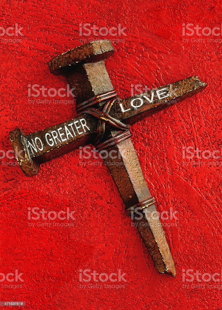 Love Cross of Nails on Red royalty-free stock photo