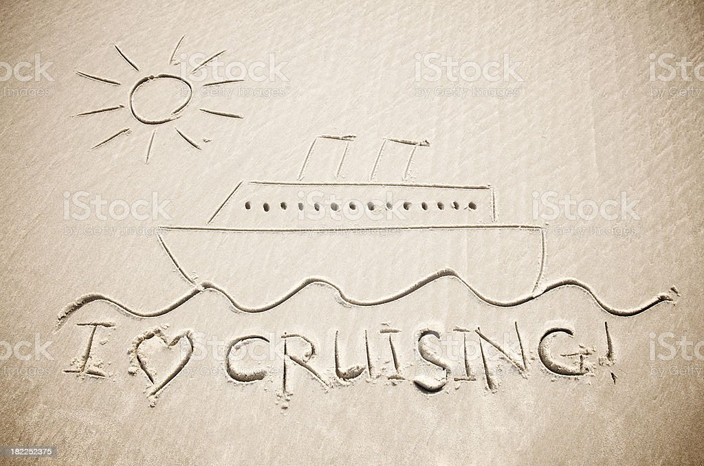 I Love Cruising Message w Cruise Ship and Sun royalty-free stock photo