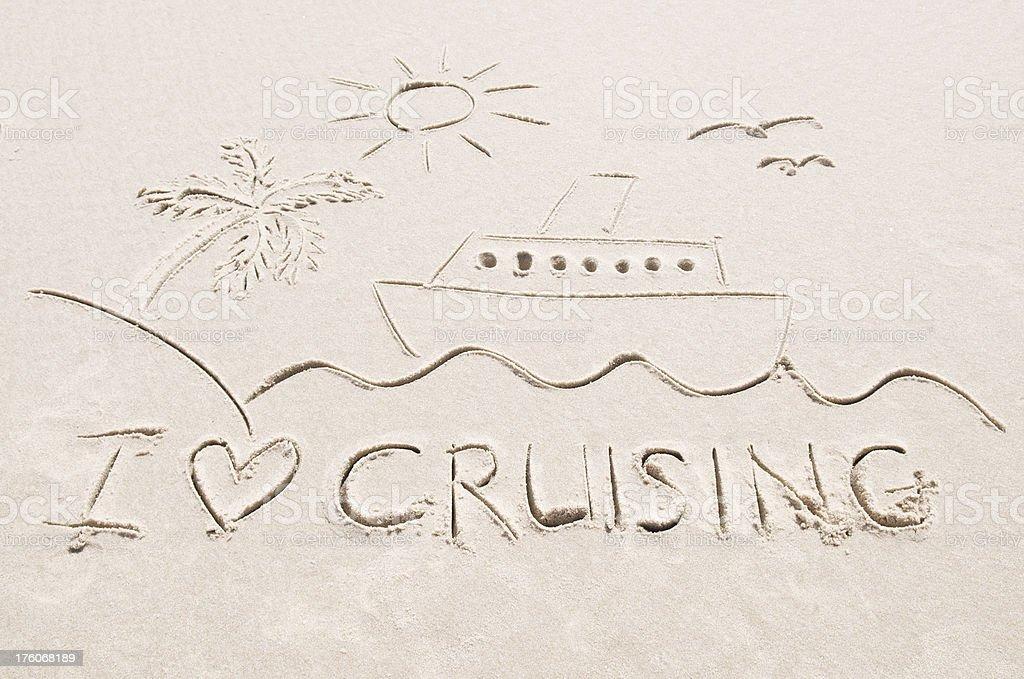 I Love Cruising Scene in Sand royalty-free stock photo