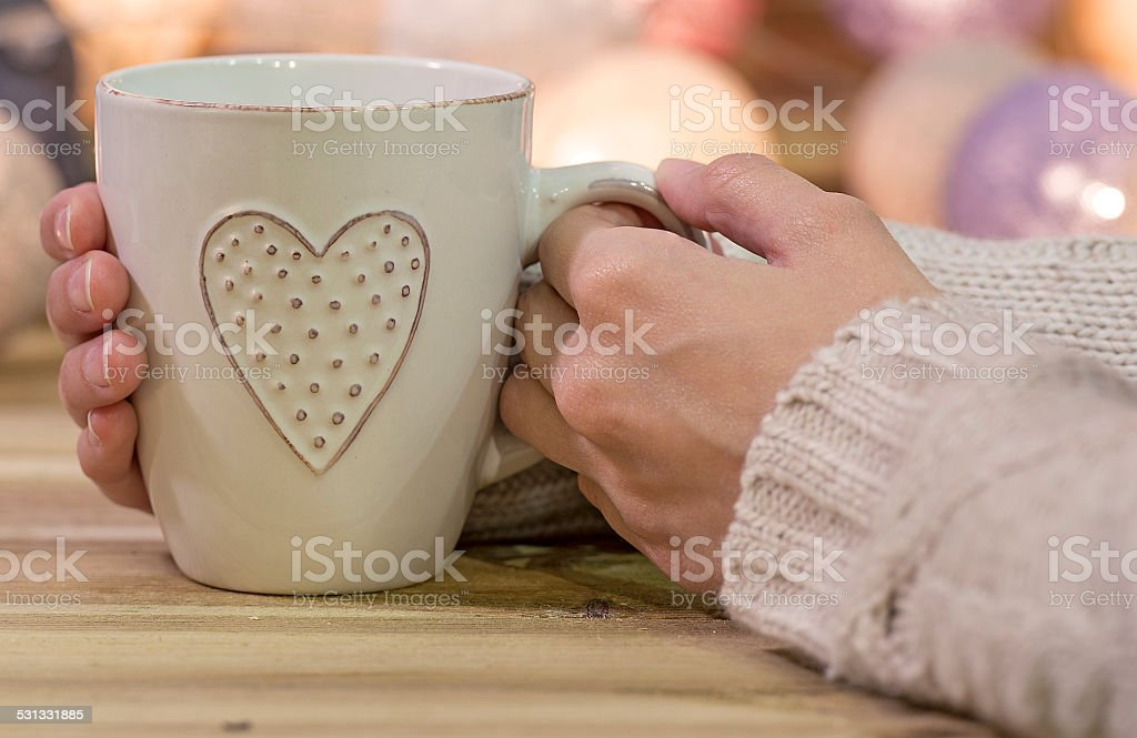 Love cup with heart stock photo