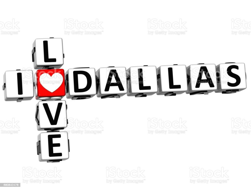 3D I Love Dallas Crossword vector art illustration