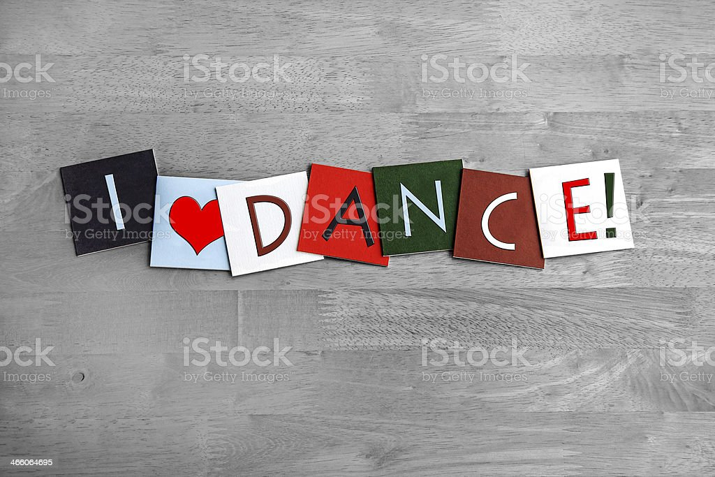I Love Dance, sign series for dancing, arts and clubbing! stock photo