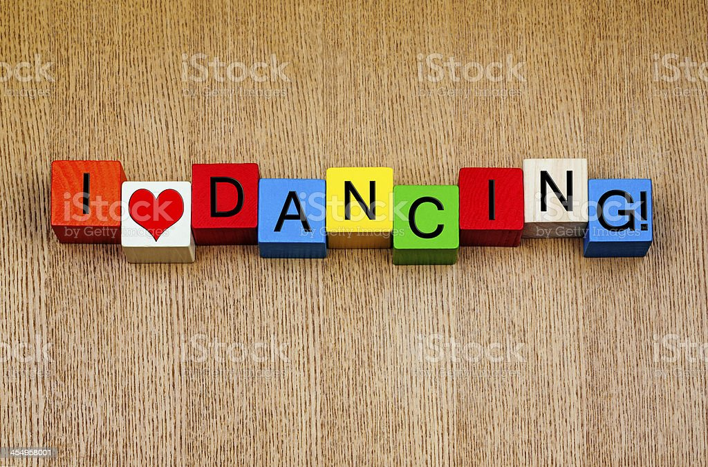 I Love Dancing - sign series for dance stock photo